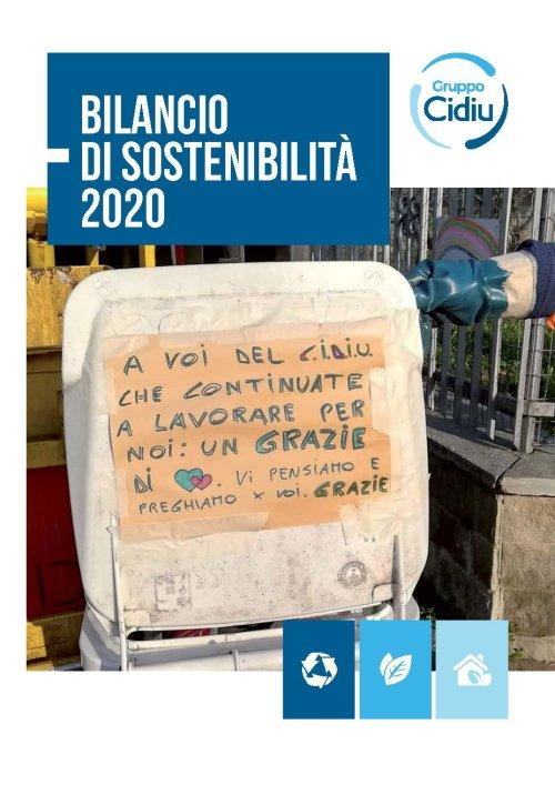 Copertina bilancio sostenibilità anno 2020